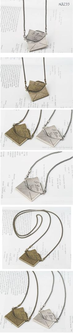 Retro Style Love Letter and Envelope Pattern Decorated Necklace (SILVER) China Wholesale - love Envelope Pattern, Letter Necklace, All Things Cute, Silver Necklaces, Retro Fashion, My Style, Retro Style, Jewelery, Personal Style