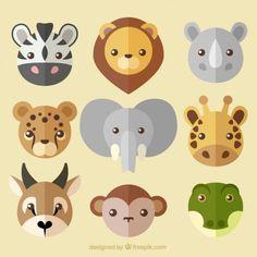 Colección de simpáticos avatares de animales salvajes Vector Gratis