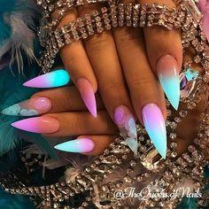 Neon fluorescent blue pink clear sharp stiletto nails