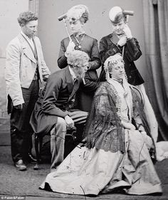 Stella and Fanny, top right with croquet sticks, loved dressing up in resplendent women's clothes and going out in London society in the 19th century