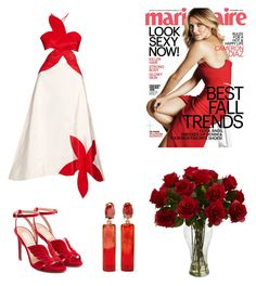 """""""#cameron"""" by renesmi ❤ liked on Polyvore featuring Valentino, Rosie Assoulin, Oscar de la Renta, CameronDiaz and marieclaire"""