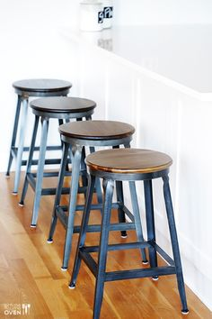 Cute industrial bar stools | gimmesomeoven.com #kitchen #remodel