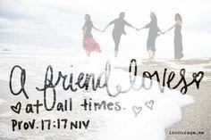 Prov 17:17  friend loves.