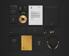 黑色+金色是使用频率极高的色彩组合。挪威平面设计师Martine Strøm为本土独立音乐出品公司Adamo music 重塑品牌标识与视觉设计,便用这两种颜色突出品质感。