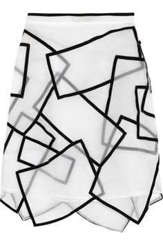 Christopher Kane | Paneled velvet-trimmed silk-voile skirt