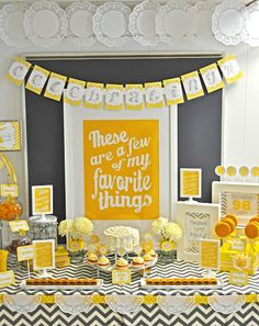 @Chelsea Rose Crawford; Some neat ideas for gray and yellow wedding. i love the white frames! Little Big Company: A 98th Birthday Party, Gorgeous Yellow and Grey Themed Party by Meghily - Party in Style //  Tweak some things for a first birthday
