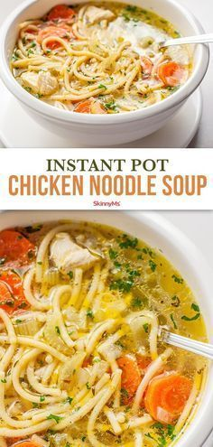 Instant Pot Chicken Noodle Soup In our healthier version of chicken noodle soup we consciously chose ingredients which create a nice balance of flavor and nutrition. The post Instant Pot Chicken Noodle Soup appeared first on Getränk. Soup Recipes, Chicken Recipes, Healthy Recipes, Home Made Chicken Noodle Soup Recipe, Simple Chicken Noodle Soup, Vegetarian Chicken Noodle Soup, Chicken Ideas, Fast Recipes, Noodle Recipes