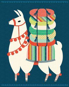 Hillary Bird Llama Illustration