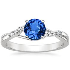 OMG THIS BUT WITH THE TEAL SAPPHIRE, LOVE. 18K White Gold Sapphire Chamise Ring from Brilliant Earth