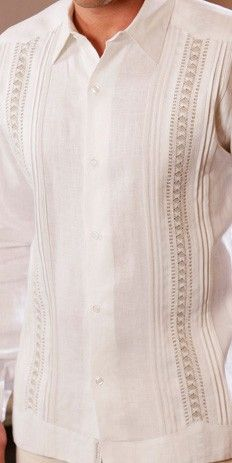 Exquisite Guayabera for Wedding design. Hand Craft-Best quality EVER ! - Hand Craft Guayabera Style. Irish sublime soft Linen Guayabera for wedding.  Dry clean a must. Available in Plus Size.  Fitted.