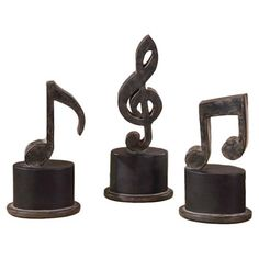Global Direct Set of 3 Aged Black Music Notes at Lowe's. Hand forged metal music note accent pieces, finished in aged black with a tan glaze and matte black accents. Black Figurines, Metal Figurines, Garden Figurines, Decorative Objects, Decorative Accessories, Home Accessories, Decorative Accents, Music Notes Art, Instruments