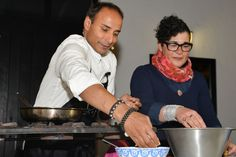 Reza Mahammad and Karen Dudley cooking at Food Film Festival at Food Film, Film Festival, Events, Cooking, Shopping, Art, Happenings, Cuisine, Art Background