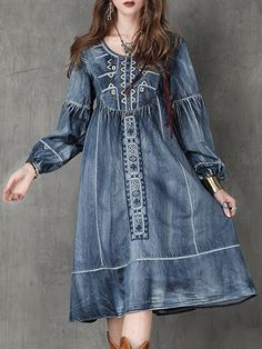 fashion style outfit ideas outfit inspo shop outfits online shop new outfits purchase outfits shopping clothes summer summer tops for women buy outfits Denim Fashion, Look Fashion, Fashion Outfits, Fashion Clothes, Elegant Dresses, Casual Dresses, Denim Dresses, Estilo Jeans, Womens Denim Dress