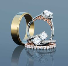 Yellow Gold Men's Wedding Ring, Engagement ring, two-stone ring, and diamond eternity ring
