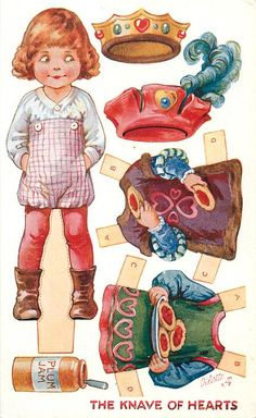 """""""The Knave of Hearts"""" from Nursery Rhyme on face of post card. Paper [dressing] doll. Illustrator A. L. [Ada Leonora] Bowley (English, 1866-1943)"""