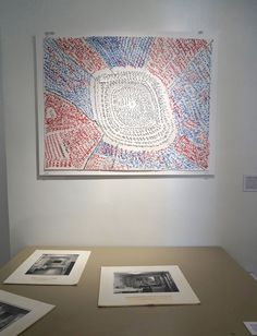 "José Antonio Vega Macotela, ""Time Divisa. Intercambio 66″ (2007), red, blue, and black pen on paper. ""The artist serenaded Ivan's mother at her home and in exchange, he drew an acoustic map of the prison codifying the environmental sounds he could hear within a 360 degree radius."""