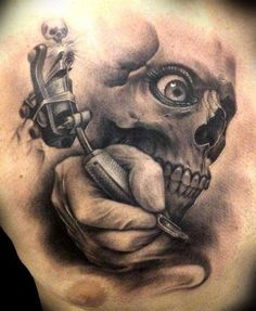 Realistic 3D Skull And Tattoo Machine Tattoo On Chest