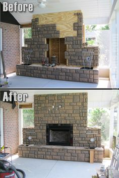 faux rock fireplace panels completely transform this screened in rh pinterest ch