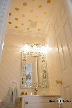 Bathroom makeover with gold sharpie and gold vinyl polka dots. #sharpie #goldsharpie #sharpiewalltreatment #goldpolkadots #goldwallvinyl #powderroommakeover #mintgoldwhite