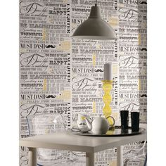 K2 Feature Wallpapers Follow Your Dreams Wallpaper          Charcoal/Yellow 11179