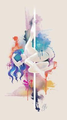 Resultado de imagem para aquarela pole dance art watercolor