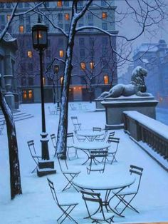 The NY Public Library, Fifth Avenue, Snow