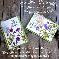 Butterfly Basics : Stampin Up! :  Sandra Mastello : Violet vs Purple