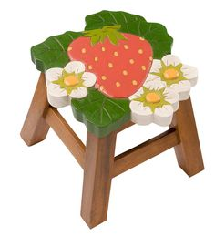 Hand-Carved Wooden Footstool In Berry Designs | Strawberry with white flowers