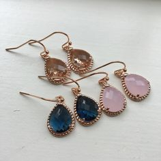 Rose Gold Earrings Champagne Blush Pink Opal Sapphire Navy Blue - Rose Gold Jewelry - Rose Gold Wedding Jewelry - Bridesmaid Jewelry Gift
