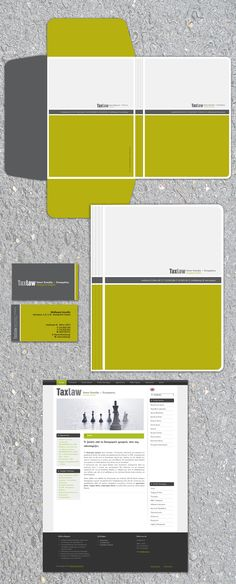 Stationery of a law firm. Folder, double sided business cards, homepage