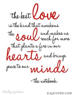 The notebook quotes | The best love is the kind that awakens the soul… – The Notebook