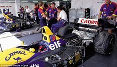 Nigel Mansell in the pit garage