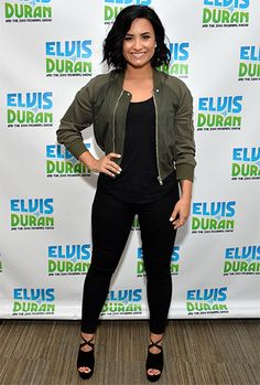 Demi Lovato wearing a Rick Owens Palm Green Cropped Bomber Jacket https://api.shopstyle.com/action/apiVisitRetailer?id=510348997&pid=uid7729-3100527-84 and Aquazzura Shoes https://api.shopstyle.com/action/apiVisitRetailer?id=526464247&pid=uid7729-3100527-84. #style #celebstyle