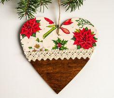 Serce na Boże Narodzenie - zawieszka ozdobna