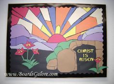 APRIL Resurrection Sunday bulletin board - use bright glossy paper instead of dull