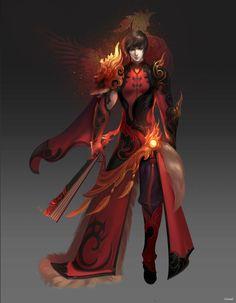 CGwall游戏原画网站_红色,不对称设计,时代特色明显,花纹表现明显,有华丽衬托主角