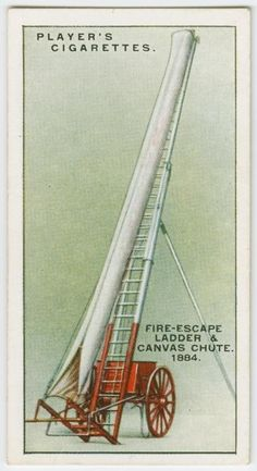 Fire-escape ladder and canvas chute, From New York Public Library Digital Collections. Emergency Doctor, Advertising History, Firefighter Decor, Fire Image, Fire Escape, Fire Apparatus, Emergency Vehicles, Fire Engine, New York Public Library