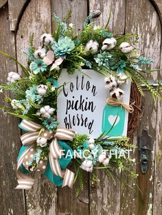 A personal favorite from my Etsy shop https://www.etsy.com/listing/508398781/cotton-pickin-blessed-grapevine-wreath
