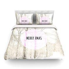 "Iris Lehnhardt ""Merry Xmas"" Holiday Cotton Duvet Cover"