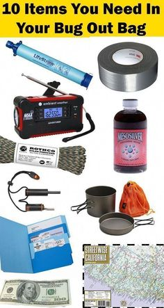 Top 10 Bug Out Bag List Emergency Essentials You Don't Want To Be Without - Trend Topics Ideas Survival Items, Survival Supplies, Emergency Supplies, Urban Survival, Survival Food, Wilderness Survival, Survival Prepping, Survival Skills, Survival Hacks