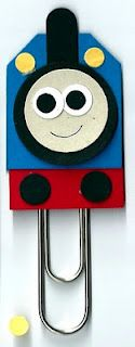 Thomas the tank engine paperclip bookmark made with punches #stampinup