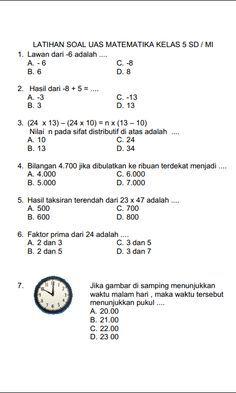 Pelajaran Kelas 5 Matematika : pelajaran, kelas, matematika, Soal2