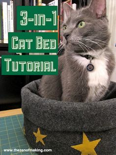 Tutorial: Magical 3-in-1 Cat Bed | The Zen of Making Use felt, fleece, or re-purposed felted sweaters for this simple and adaptable pattern.