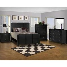 Luna California King Panel Bed in Black Cherry