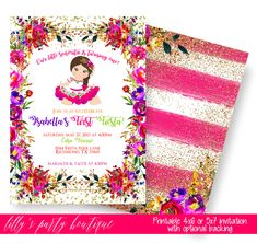 Fiesta Birthday Invitation Mexican Baby Shower First Muchachita 0090