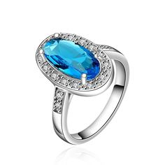 Mock Sapphire Gem Jewels Covering Classical Ring Size Women's