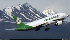 EVA Air Cargo Boeing departing Anchorage-Ted Stevens International, May (Photo: Michael Dyches) Ted Stevens, Cargo Airlines, Boeing 777, Aviation, Aircraft, Planes, Airplane, Airplanes, Plane