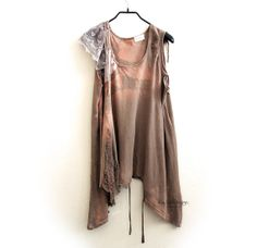 Reconstructed tank - up-cycled t shirt -shredded tunic KT520