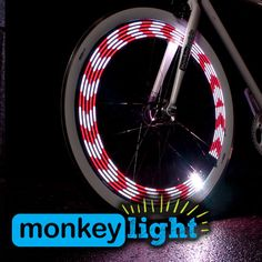 Monkey Light Bike Wheel Lights: Great Tire Spoke Light Safety Accessory Full Color 32 LED Waterproof Built to Last AA Battery Assembled in USA for Front and Back visible for Crusiers and Fixie Tail Light, Light Up, Bmx, Bicycle Lights, Bike Light, Led Color, Bicycle Wheel, Bicycle Art, Bicycle Safety