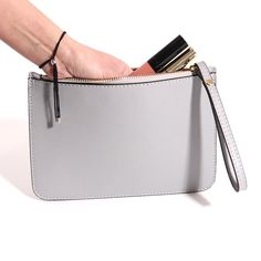 Italian Leather Clutch Bag with Wrist Strap in Grey Leather Clutch Bags, Purse Wallet, Italian Leather, Evening Bags, Purses, My Style, Grey, Leather Bum Bags, Handbags